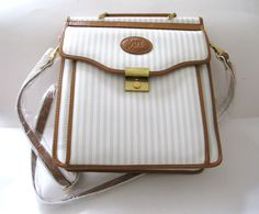 Large Vinyl Cream Stripes and Tan Leather Handbag or Small Briefcase NWT #AllanEdward #ShoulderBag