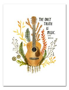 Truth Is Music Art Print Watercolor Wall Art Jack Kerouac Inspirational Quote Guitar Music Botanical Print by LittleTruthsStudio on Etsy www. Music Drawings, Art Drawings, Impressions Botaniques, Guitar Posters, Watercolor Walls, Watercolour Painting, Guitar Art, Music Guitar, Ukulele