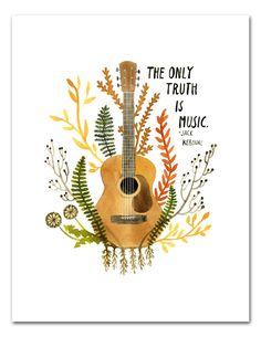 Truth Is Music Art Print, Watercolor Wall Art, Jack Kerouac, Inspirational…
