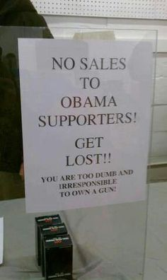 Love it. If you vote for Nobama you prove you are to stupid to own a gun!