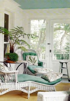 Gorgeous white wicker lounges with sky blue cushions on a pretty veranda terrace porch! Look how the blue cushions match the blue ceiling! Imagine sitting here in the early morning with coffee or late in the evening with a martini! Decor, Beach Porch, Furniture, Coastal Living Rooms, Wicker Decor, Wicker Furniture, Home Decor, Outdoor Living, Outdoor Furniture Sets