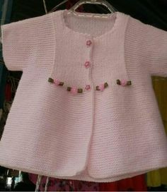 Knitting Pattern for Garter Stitch Baby JacketBaby cardigan knit in garter stitch with options for knit edging or crochet edging. Baby Cardigan, Cardigan Bebe, Baby Pullover, Crochet Baby Dress Pattern, Baby Dress Patterns, Baby Knitting Patterns, Pull Bebe, Knitting For Kids, Baby Sweaters