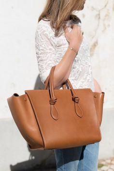 Celine Tie Bag In Tan Leather