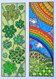 Zentangle Bookmark Flowers to Print and Color - Coloring Page - Digital Download - Bookmark Number 4 on Etsy, $3.25