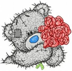 Teddy bear with roses machine embroidery design. Machine embroidery design. www.embroideres.com