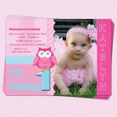 Birthday Owl Invitations Girl 1st Birthday Look by CupcakeDream, $14.00