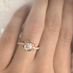 Verlobungsringe - Blumen Diamant Ring 14kt Weißgold Verlobungsring - ein Designerstück von lovediamonds bei DaWanda