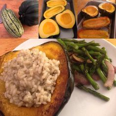 Catching up on tags here. Beauties @greentea.and.bbg @fitjess_bbg and @healthybrain_healthybody tagged me to share #whatsonmyplate and @audreybbg for #widn. After I finished all my meal prep for the week (similar to my last post from last week) I made this delightful Sunday evening meal of baked winter squash filled with mushroom risotto (made two kinds of squash delicata and acorn) and sautéed veggies on the side. There was plenty leftover to add to my prepped meals.  #BBG #bbginthedmv…