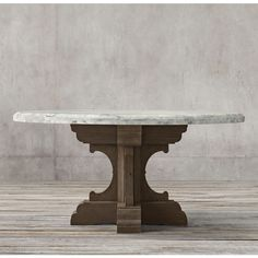 17th C. French Bastide Oak & Marble Round Dining Table ($3,295) ❤ liked on…