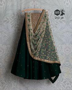 SwatiManish Lehengas SMF LEH 210 18 Regal green badla lehengas with off white threadwork sequin dupatta and sequin blouse Lehenga Designs Simple, Simple Lehenga, Choli Designs, Blouse Designs, Indian Attire, Indian Outfits, Indian Clothes, Lehnga Dress, Sharara Suit
