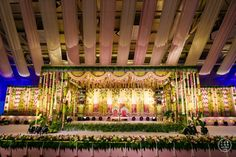 An Elegant Hyderabad Wedding With A Royal Reception events Fun events Planning events Website Engagement Stage Decoration, Wedding Hall Decorations, Marriage Decoration, Backdrop Decorations, Backdrops, Diwali Decorations, Festival Decorations, Flower Decorations, Outdoor Indian Wedding