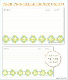 cute free printable recipe cards :)