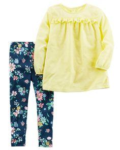 Toddler Girl 2-Piece Dobby Woven Top  amp  Legging Set  405093ba3