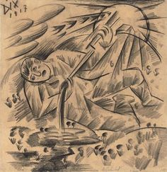 Otto Dix (1891-1969)  Soldatentod/Soldatenlied  signed and dated 'Dix 1917' (upper left)  charcoal on buff paper  15 5/8 x 15 3/8 in. (39.7 x 39.1 cm.)  Drawn in 1917 Estimate $15,000 - $20,000