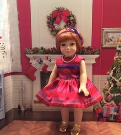 "Custom Couture 18 Inch Doll Clothing-Pure Silk Holiday Dress Will Fit Dolls Like Robert Tonner's ""My Imagination™"" by gofancynancy on Etsy"