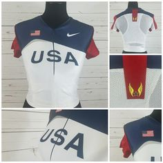 Nike USA Olympic Track and Field Jersey Shirt Size Large Built In Sports Bra #Nike #USA