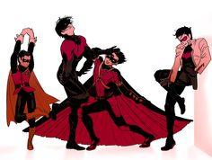 Fabulous Batboys. Nightwing. Red Hood. Red Robin. Robin. <3