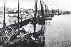 De vissersvloot van Den Helder in 1920 in de haven. Het waren toen allemaal zeilschepen.