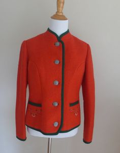 Vintage Red Boiled Wool Lined Trachten Jacket by CafeChaCha, $58.00