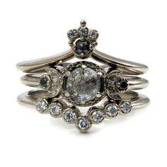 Celestial Goth Engagement Ring Set - Black Rutile Quartz Moon Engagement Ring with Nesting Wedding Bands