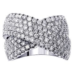 14k or 18k White Gold 2 5/8ct Diamond Crossover Anniversary Ring (G-H, SI1-SI2) (18k Gold - Size 6.5), Women's