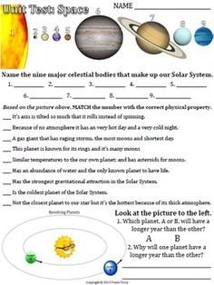Solar System Test 5th Grade - Pics about space