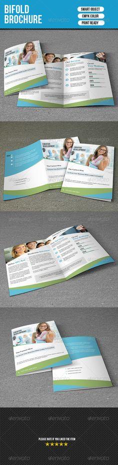 Bifold Business Brochure ...  2 fold, bifold, brochure, business, clean, corporate, creative, customizable, editable, fresh, print ready, printed, psd
