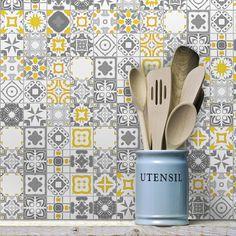 Kitchen Room Design, Kitchen Layout, Home Decor Kitchen, Colourful Kitchen Tiles, Ethnic Home Decor, Austin Homes, Geometric Decor, Kitchen Backsplash, Sweet Home