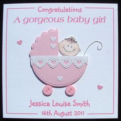 Personalised handmade Congratulations new baby girl card My cards are made with loving care, and attention to detail, using only high