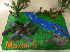 Maxim's wolf birthday cake...yes, he wanted the pack of wolves to be attacking a buck...best cake ever recipe