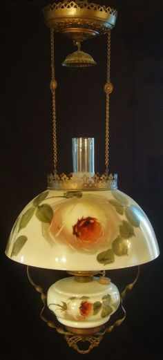 Antique Victorian Hanging Oil Lamp With Roses Shade & Font nice for a Library, Parlor, or Kitchen