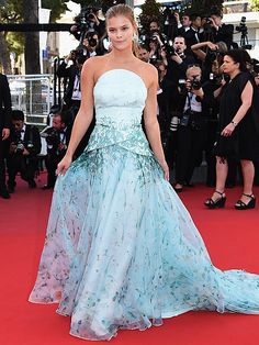 The Best and Boldest Looks from the Cannes Red Carpet! | NINA AGDAL | in an ocean blue strapless ballgown with tulle skirt at the Inside Out premiere.