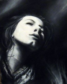 Charcoal self portrait by Lacee Renee Townsend