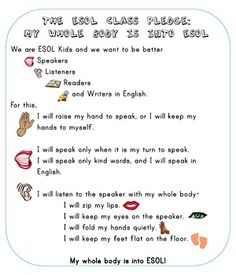 The ESOL Class Pledge Poster- FREE