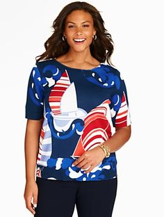 Talbots - Elbow-Sleeve Sweater Topper-Sailboats | | Woman Discover your new look at Talbots. Shop our Elbow-Sleeve Sweater Topper-Sailboats for stylish clothing and accessories with a modern twist at Talbots