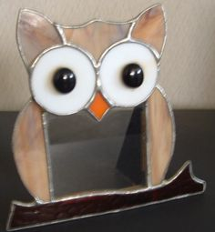 STAINED GLASS OWL PICTURE FRAME
