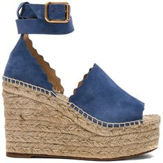 Chloe Lauren Suede Espadrilles found on Polyvore featuring shoes, sandals, wedges, heels, wedge espadrilles, platform espadrilles, wedge heel shoes, heeled sandals and espadrille sandals