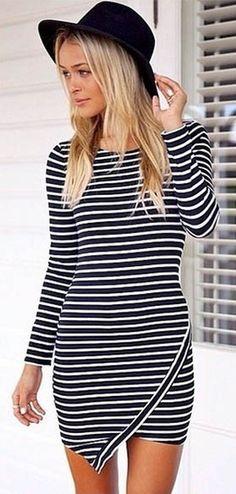 Black Stripe Long Sleeve Asymmetrical Hem Dress