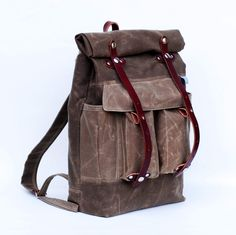 The Camper Satchel in Tan Waxed Canvas by sketchbook on Etsy, $240.00