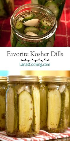 Our family& favorite dill pickles - Kosher dills with lots of fresh dill and garlic. Tested and approved safe canning recipe for shelf stable storage. Kosher Pickles, Canning Dill Pickles, Garlic Dill Pickles, Pickled Garlic, Crispy Dill Pickle Recipe, Canning Vegetables, Veggies, Brine Recipe, Homemade Pickles