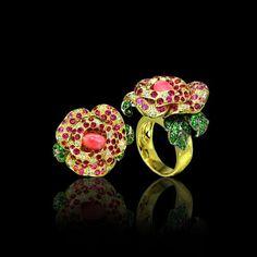 Paula Crevoshay Rose Ring, with conch pearl, tsavorite, sapphire and diamond.