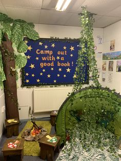 Camp out with a good book reading area. An outdoor inspired reading corner.