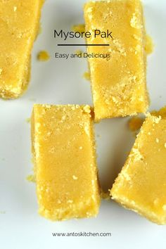 If you like fudge, you'll probably go crazy (like me) over Soft Mysore Pak. Besan (chickpea flour) is very easy to make: put dry chickpeas through your blender, sifting out any bits that didn't turn to a fine flour Indian Dessert Recipes, Sweets Recipes, Healthy Desserts, Delicious Desserts, Cooking Recipes, Yummy Food, Indian Recipes, Diwali Recipes, Snack Recipes