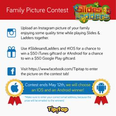 Are you participating in our SLIDES & LADDERS FAMILY PICTURE #CONTEST yet? Follow the instructions below and find the contest tab here: http://bit.ly/1n2uVXc Contest ends May 12th!!!