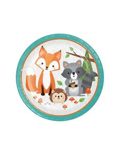 Large Woodland Party Plates- Fox Party Plates, Woodland Baby Shower Plates, Woodland Birthday, Woodland P Fox Party, Animal Party, Woodland Party, Scrapbooking Image, Baby Shower Plates, Baby Shower Decorations For Boys, Party Decoration, Party Plates, Animal Birthday