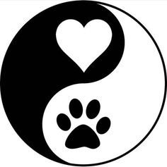 Love and Dogs - Katzen / Cat , Love and Dogs Liebe und Hunde Fun, Dogs & other disasters. Cute Cat Gif, Dog Tattoos, Tattoo Cat, Dog Paws, Yin Yang, Pencil Art, Easy Drawings, Rock Art, Cat Art