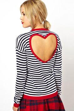 Camiseta rayas espalda abierta manga larga-blanco y negro