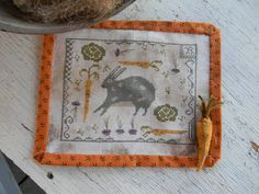 Hello!  offering you my new cross stitch PAPER PATTERN for ~  Rabbit Stew ~ from Notforgotten Farm    …dear old rabbit, in the garden again