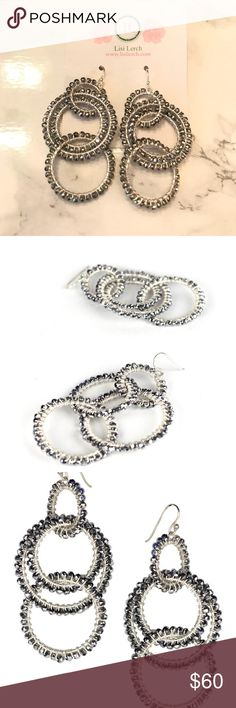 """NWT Lisi lerch emily disco earrings Brand new lisi lerch emily earrings in disco colorway. 3"""" long. Glass beads and brass. Silver/gray. lisi lerch Jewelry Earrings"""