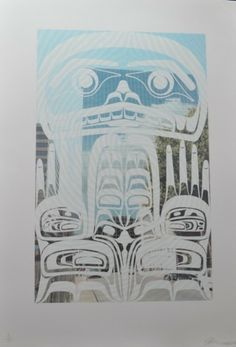 """Self-portrait Montreal by John Bennett (Haida) Limited edition lithograph /29 - 33"""" x 24 1/2"""" Fazakas Gallery is a Vancouver Art Gallery with exciting works from Contemporary Artists from diverse backgrounds and cultures.  www.fazakasgallery.com"""
